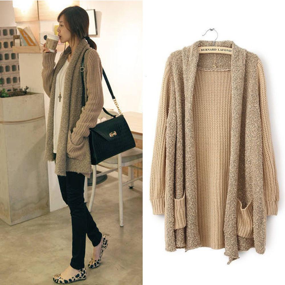 New Casual Womens Fashion Loose Splice Knitted Long Sleeve Cardigan Kahki | eBay