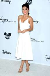 dress,sarah hyland,midi dress,celebrity,all white everything