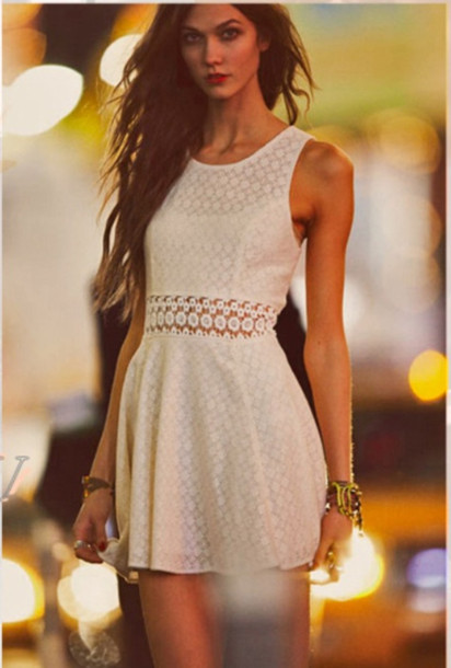 Dress: white dress, white, girly, lace dress, lace, outfit, cut ...