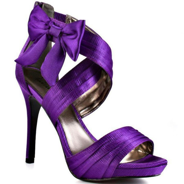 Shoes: prom shoes, high heels, sandals, open toes, bows, purple ...