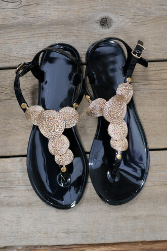shoes gold coin black shoes sandals jelly sandals summer amazinglace beach flats