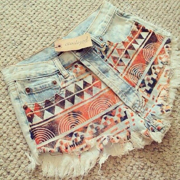 shorts aztec short light blue denim shorts