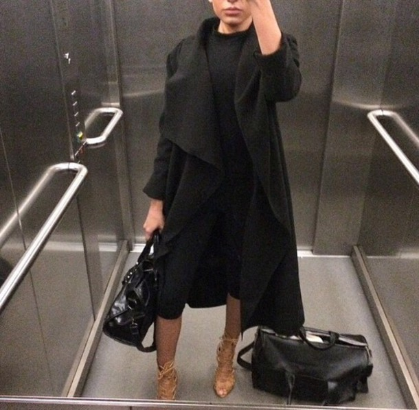 coat black coat long coat black dress nude heels