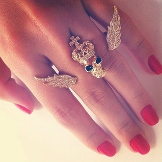 hair accessory ring skull skull ring wings gold cross jewels