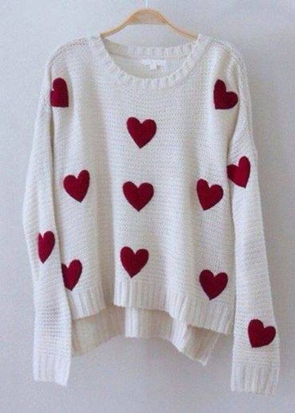 sweater pullover pull white heart hearts red cute cute sweaters