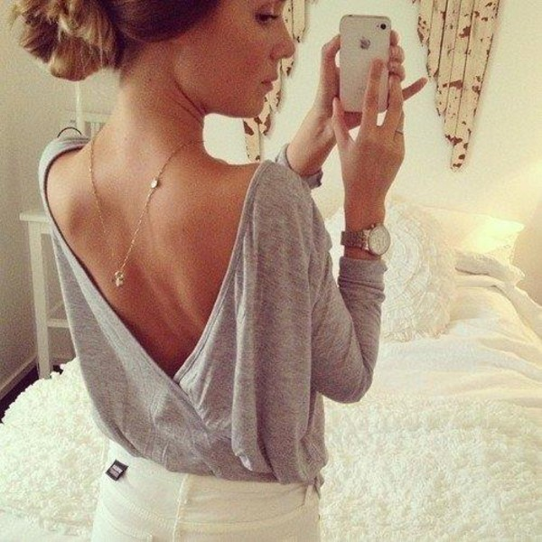 shirt clothes sweatshirt backless shirt jewels blouse