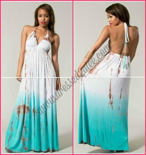 1d33249bf5d dress maxi dress pretty summer dress backless holidays beach beach tie dye  maxi dress two tone