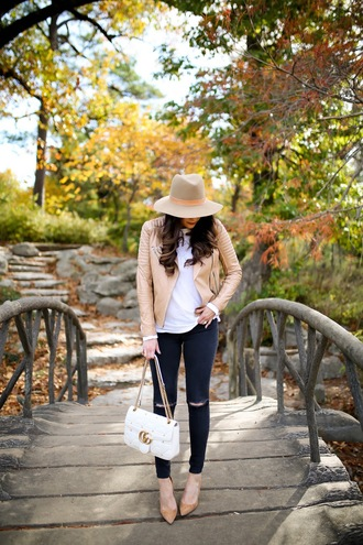 thesweetestthing blogger jacket t-shirt shoes hat jewels bag fall outfits felt hat gucci bag gucci skinny jeans pumps nude jacket tumblr top white top denim jeans black jeans ripped jeans pointed toe pumps high heel pumps nude heels white bag