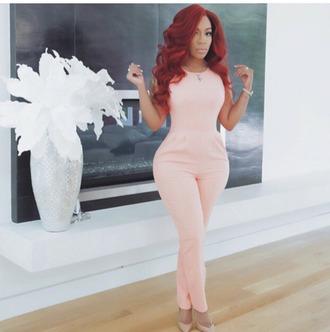 jumpsuit long sleeve romper peach shortsleeved pink formal casual high heels redhead nude all nude everything