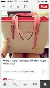 bag,michael kors,michael kors bag,pink,tote bag,nude,purse,pink and white,pink bag,micheal kors bag,pink white michael kors,michael kors totes