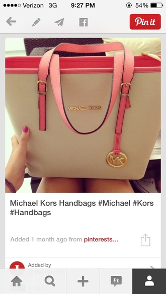 bag michael kors michael kors bag pink tote bag nude purse pink and white pink bag micheal kors bag pink white michael kors michael kors totes