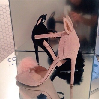 shoes pink black heels heel pink heels sandals sandal heels high heel sandals pumps fur furry heels