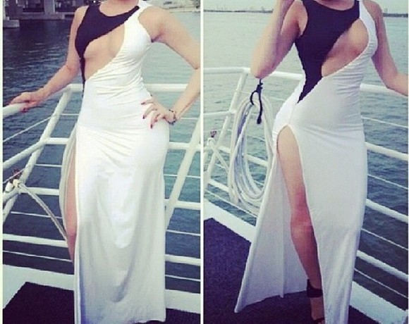 dress sexy dress prom dress white and black white dress black