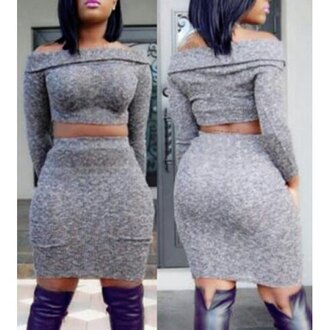 dress curvy rose wholesale high waisted plus size off the shoulder two-piece grey grey dress fall outfits sexy dress thanksgiving fashion long sleeves
