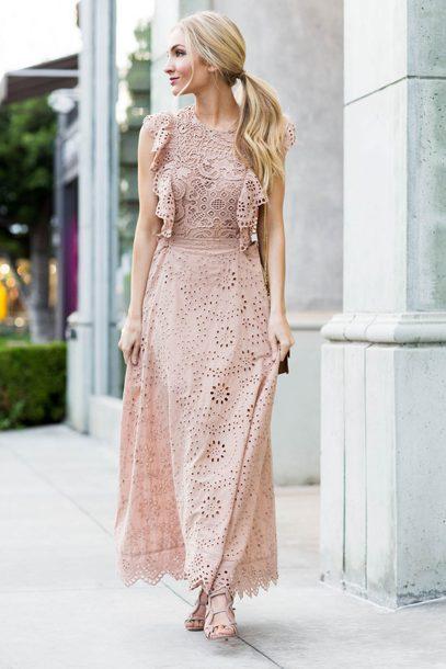 d6fa3b3378b dress tumblr maxi dress long dress lace dress pink dress ruffle ruffle dress  dusty pink sandals