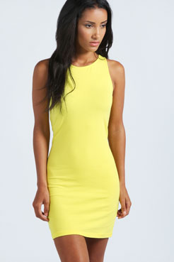 Mackenzie Racer Front Jersey Bodycon Dress at boohoo.com