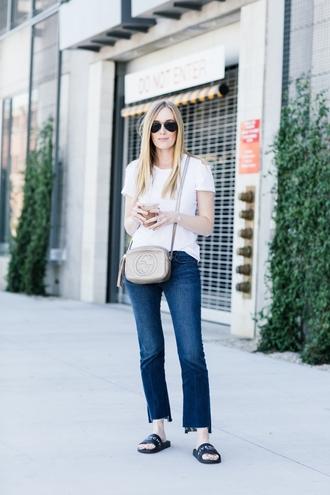 t-shirt ruffle hem denim flared jeans cut-out t-shirt blogger blogger style crossbody bag slide shoes