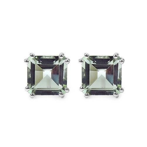 Ethically Mined Natural 9CT Princess Cut Light Green Amethyst Stud Earrings Platinum