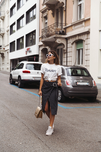 skirt t-shirt striped skirt wrap skirt midi skirt white sneakers blogger blogger style slogan t-shirts shoulder bag