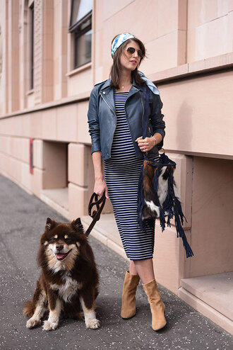 thank fifi blogger dress jacket shoes scarf bag leather jacket striped dress maternity dress maternity boots furry bag spring outfits