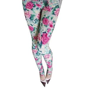 Cotton Ladies Winter Boho Grey Rose Floral Patterned Print Leggings Tights | eBay