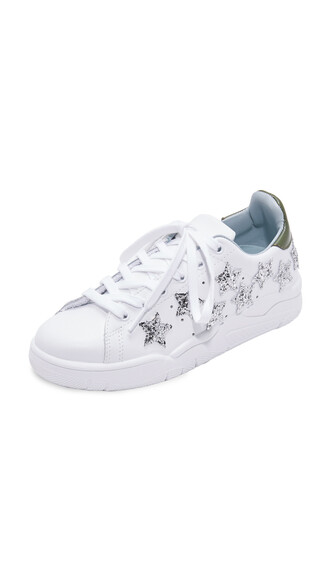 heart sneakers silver white shoes