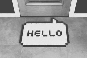 home accessory house home decor shoes hello shoe mat mat grunge hipster speech bubbles dorm room