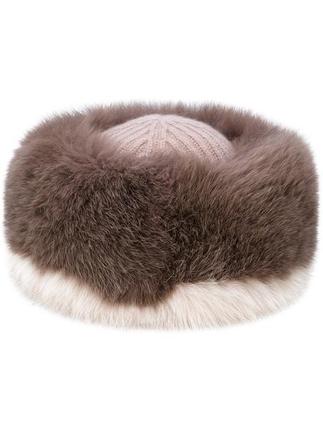 fur fox women hat fur hat purple pink