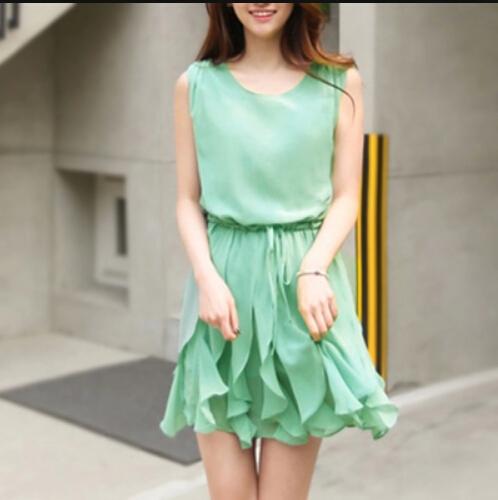 Summer Chiffon Green Mini Draped Dresses, Draped Dresses, Summer Mini Dress, Pretty Green Dresses on Luulla