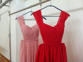 wedding dress prom dress draped bridesmaid red dress pink dress
