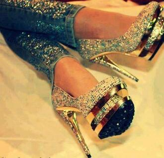 shoes heels sparkle fashion pumps jeans denim