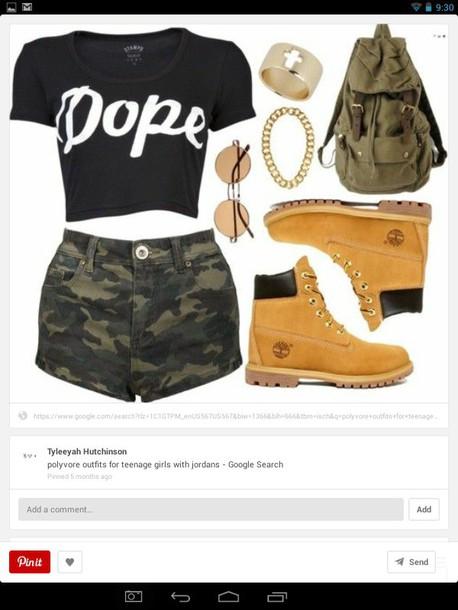 shorts camo shorts dope shirt