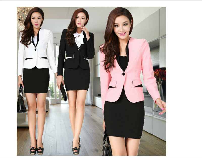 New autumn winter formal women OL uniform work wear business career set (coat  skirt) slim long sleeve skirt suits plus size XXL-in Skirt Suits from Apparel & Accessories on Aliexpress.com