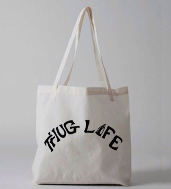 bag graphic totes tote bag tote bag tote bag american apparel thug life tupac quote on it canvas tote