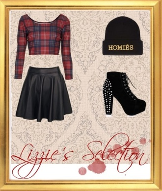 skirt tartan leather look skirt studded booties heels booties black shoes black skirt homies beanie fashion crop tops beanie hat shoes