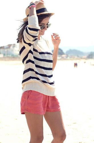 shorts linen linen shorts pink shorts sweater striped sweater lovely pepa blogger sunglasses hat straw hat beach party