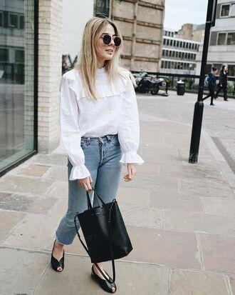 bag top jeans denim flats black flats black bag celine bag levis jeans white top sunglasses