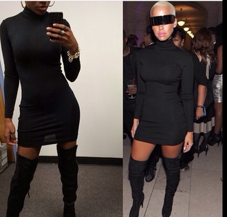 black dress turtleneck amber rose mini dress