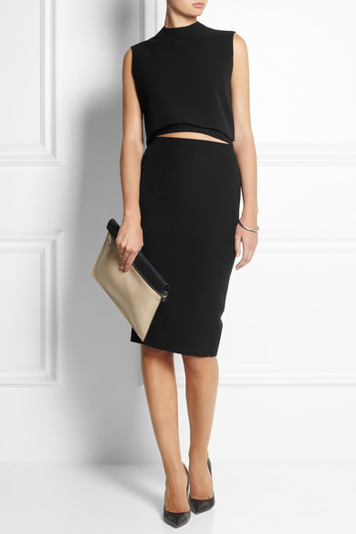 Victoria Beckham | Two-tone leather clutch | NET-A-PORTER.COM