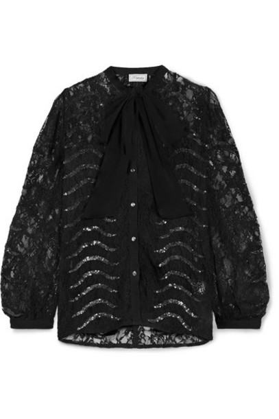 Temperley London - Panther Pussy-bow Sequined Lace Blouse - Black