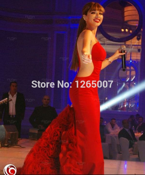 Aliexpress.com : Buy 2014 Myriam Fares Scoop Neck Cut Out Side Red Ruffles Court Train Mermaid Celebrity Dress Special Occasion Dress Red Long Dress from Reliable dress fruit suppliers on SFBridal