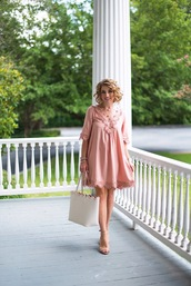 something delightful,blogger,dress,shoes,bag,jewels,pink dress,tote bag,mini dress,sandals,high heel sandals,summer outfits