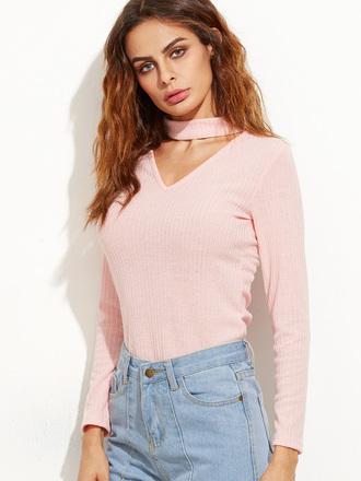 top light pink long sleeves choker necklace pink cute trendy sheinside