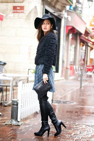 meet me in paree blogger fuzzy sweater black sweater black boots floppy hat