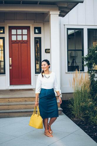 sandy a la mode blogger dress bag shoes blue and white flat sandals yellow bag