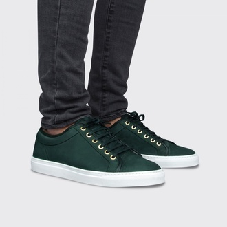 shoes money green nubuck low top calfskin leather white patted volcanic sole gold eyelets fashion sneakers mens shoes menswear summer collection