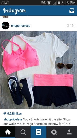 shorts nike spandex spandex shorts neon pink sports bra neon pink shorts underwear