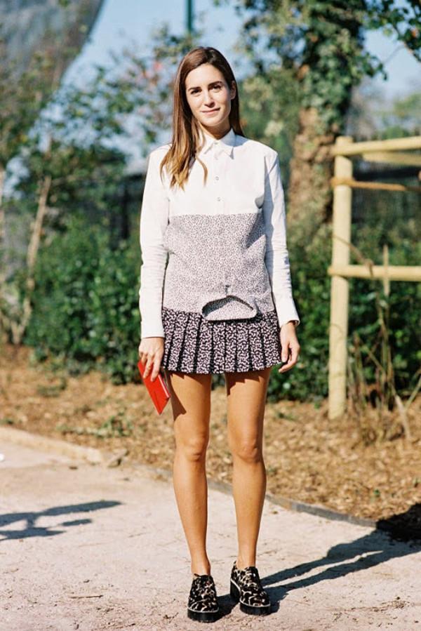 vanessa jackman blogger shirt pleated skirt
