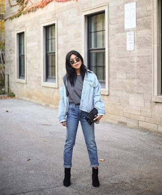 jacket tumblr blue jacket denim jacket denim sweater grey sweater knit knitwear knitted sweater jeans blue jeans ankle boots boots sunglasses