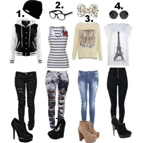 t-shirt tank top paris tee tee shirts ripped jeans booties shoes platform high heels acid wash jeans glasses